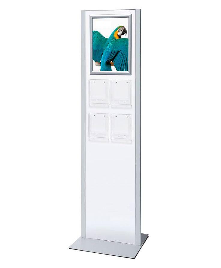 Totemový stojan na letáky, 4x zásobník A5, rám A3, jednostranný A-Z Reklama CZ