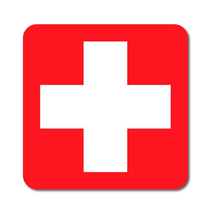 Symbol První pomoci - červený podklad - Samolepka A-Z Reklama CZ