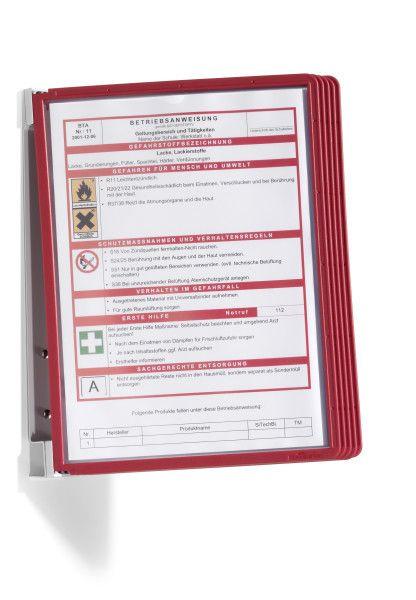 VARIO nástěnný držák s 5 Červenými kapsami A4