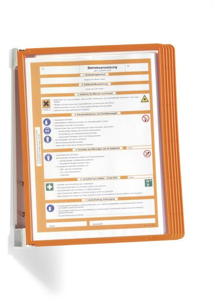 VARIO nástěnný držák s 5 Oranžovými kapsami A4