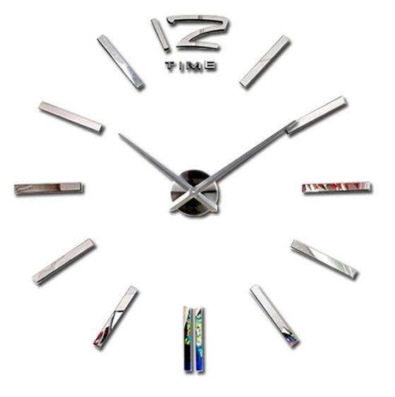 Nástěnné 3D analogové hodiny Metal Eva, 90 cm - Chrom