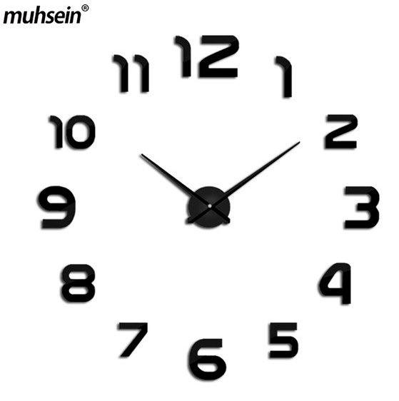 Nástěnné 3D analogové hodiny Modern, 120 cm - Černé
