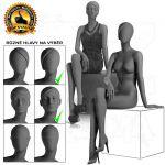 Černá Dámská abstraktní figurína-póza 12