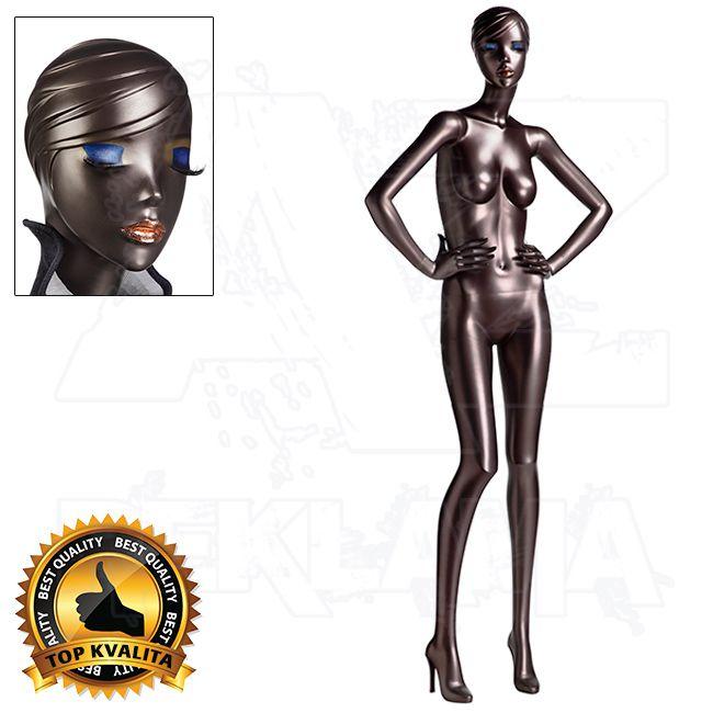 Dámská Figurína Silhouette Jolie s podpatkem a make-up - metalický lak - póza 6