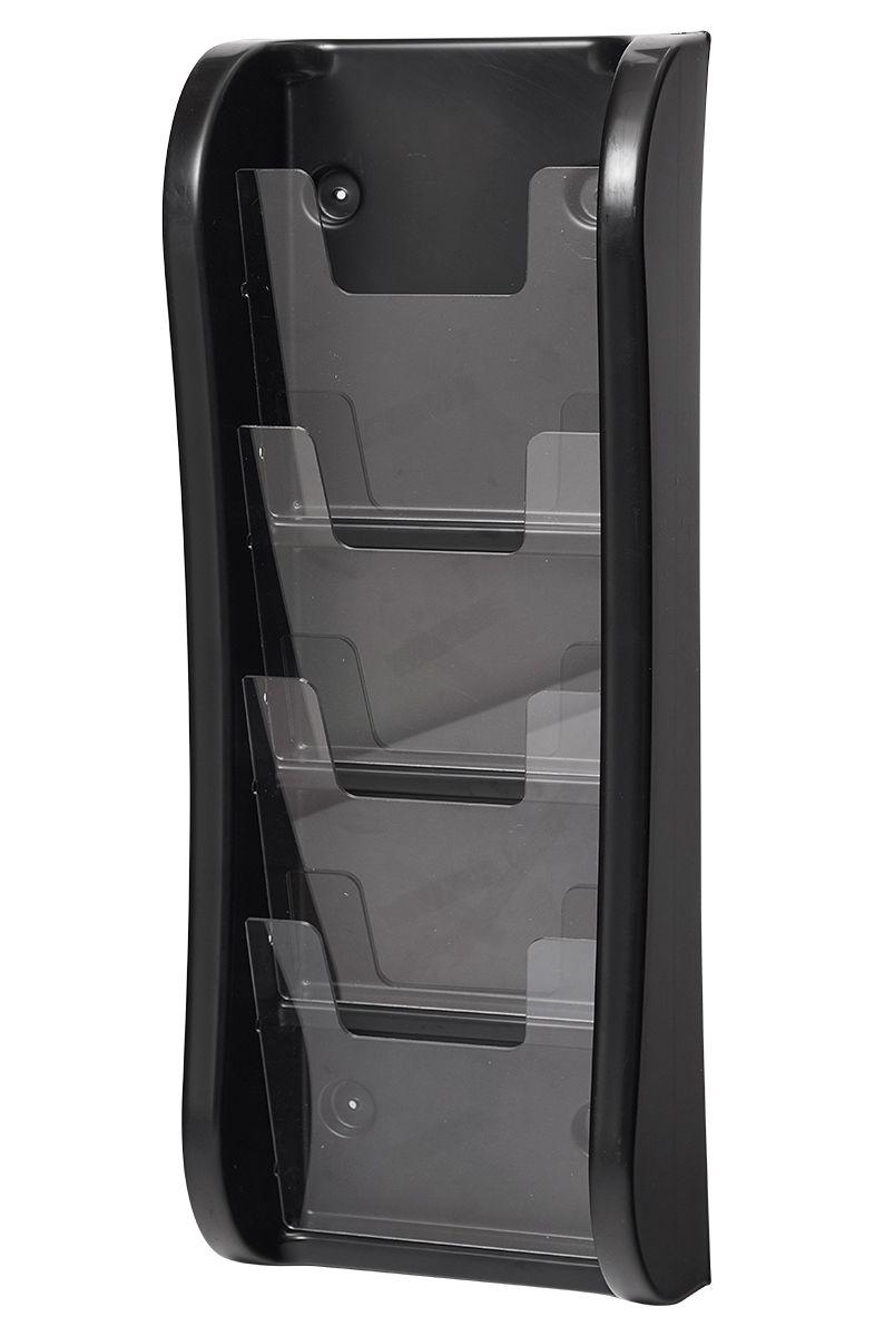 Trojkapsa na letáky 4xA5 nad sebou na zeď - Černá A-Z Reklama CZ