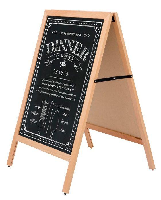 Dřevěný poutač s křídovou tabulí interiérový A-Z Reklama CZ