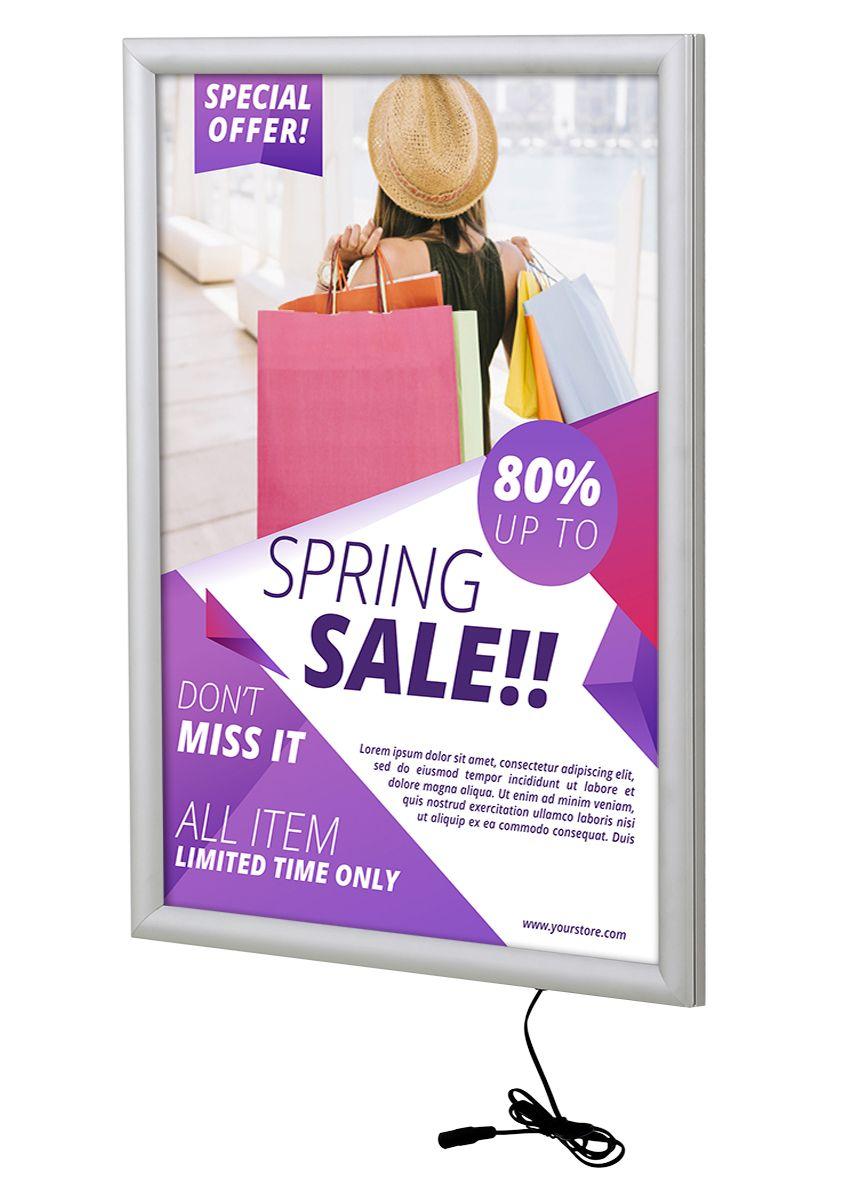 Světelný rám Max Ledbox 25 - na plakáty A2 - Stříbrný A-Z Reklama CZ