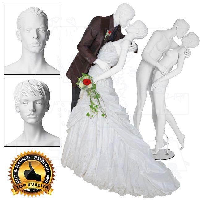 Figuríny zamilovaného páru v objetí - Bílá