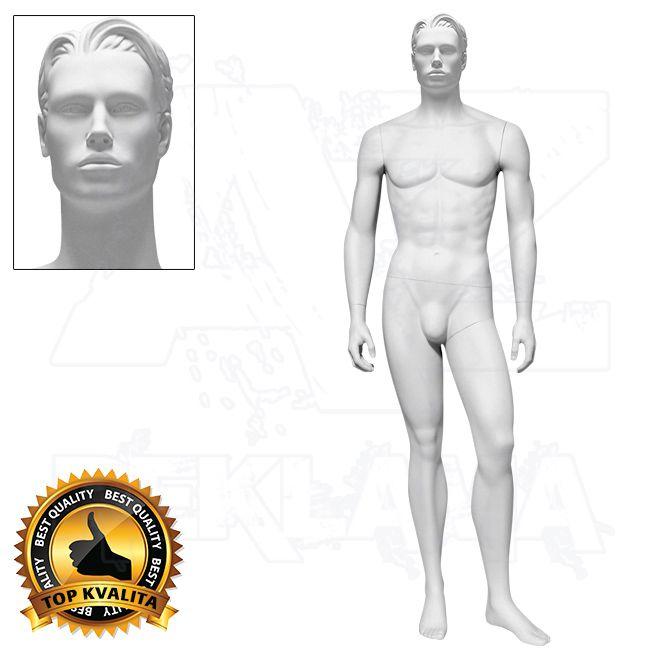 Pánská figurína ROCCO s prolisovanými vlasy - Bílá - póza 2