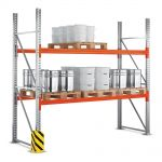 Základní paletový regál, 3 úrovně, 4400x1100x2785 do 500 kg na paletu