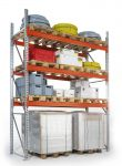 Základní paletový regál, 4 úrovně, 5500x1100x2785 do 1000 kg na paletu