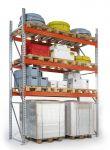 Základní paletový regál, 4 úrovně, 5500x1100x2785 do 500 kg na paletu