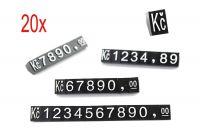 3D Cenovky 9x6 mm Kč 20 sad - Bílý prolis