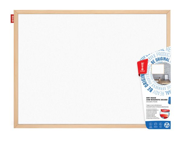 Magnetická tabule, 120x100 cm, dřevěný rám borovice, Přírodní Memoboards