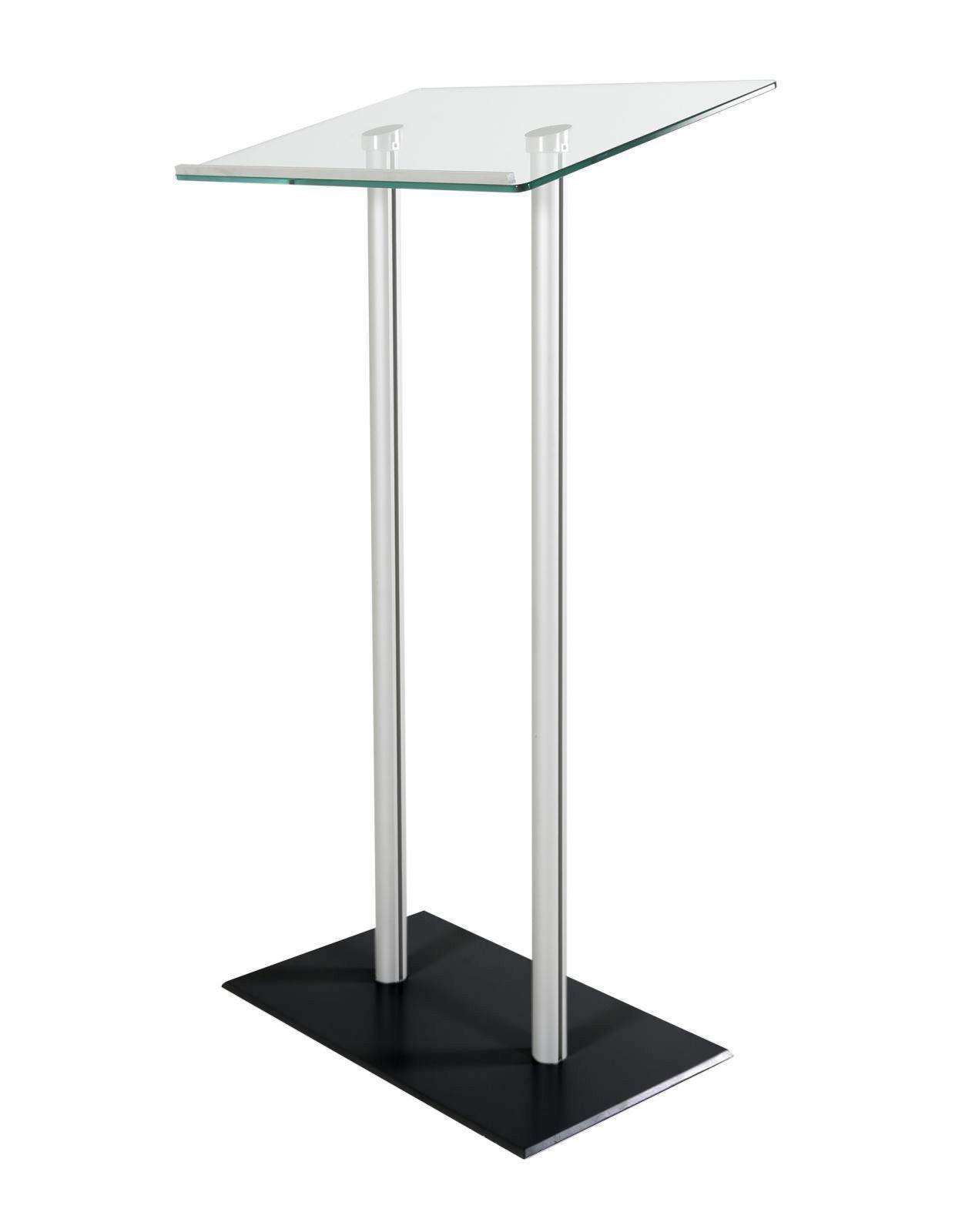 Řečnický pult skleněný stolek - Chromový