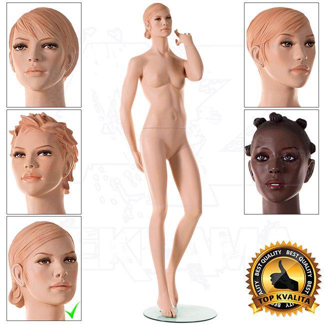 Dívčí figurína CloseUpTwo s prolisovanými vlasy - Tělová s Make-up - póza 5