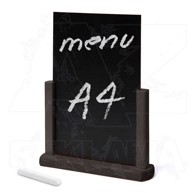 Dřevěný popisovatelný menu stojánek A4 - Černý
