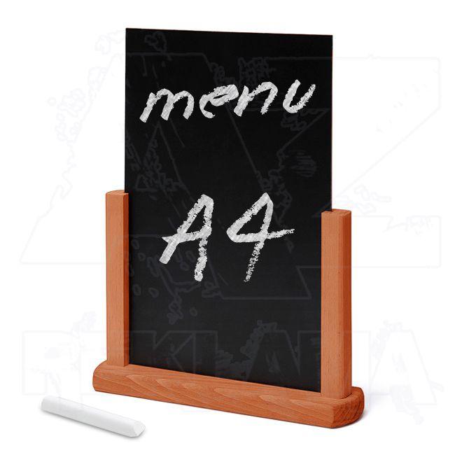 Dřevěný popisovatelný menu stojánek A4 - Světle hnědý