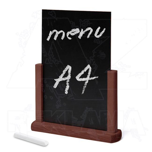 Dřevěný popisovatelný menu stojánek A4 - Tmavě hnědý