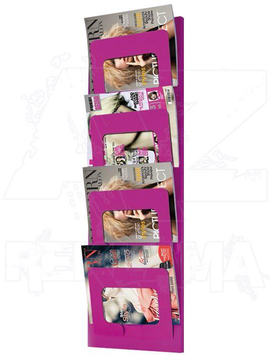 Růžový nástěnný kovový držák na časopisy a noviny