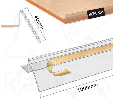 Samolepící cenovková regálová lišta se zábranou 40x1000mm