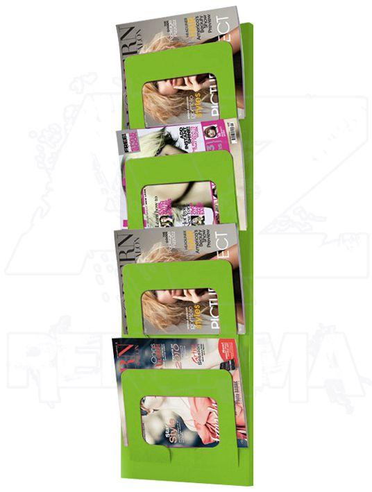 Zelený nástěnný kovový držák na časopisy a noviny
