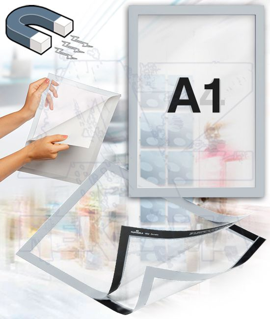 Samolepící magnetický rám DURAFRAME A1 - stříbrný