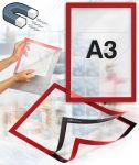Samolepící magnetický rám A3 - červený