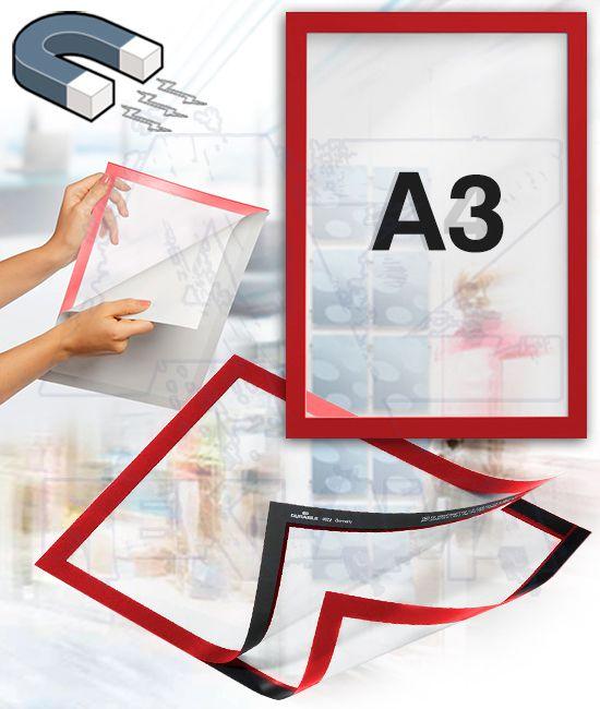 Samolepící magnetický rám DURAFRAME A3 - červený