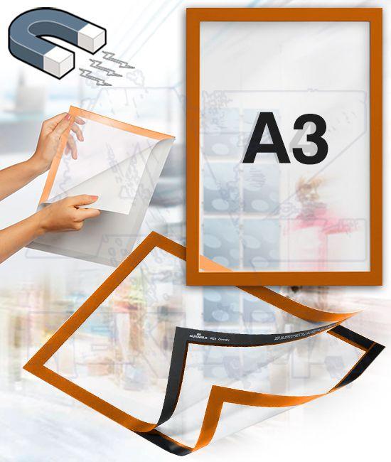 Samolepící magnetický rám DURAFRAME A3 - oranžový