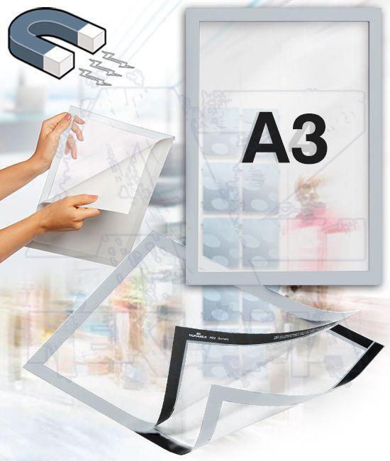 Samolepící magnetický rám DURAFRAME A3 - stříbrný