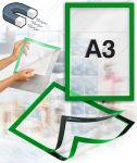 Samolepící magnetický rám A3 - zelený