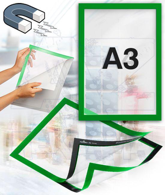 Samolepící magnetický rám DURAFRAME A3 - zelený