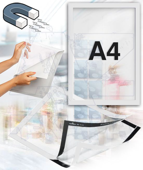 Samolepící magnetický rám DURAFRAME A4 - bílý