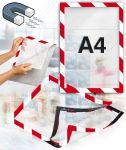 Samolepící magnetický rám A4 červeno bílý