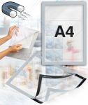 Samolepící magnetický rám A4 - stříbrný