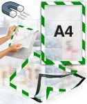 Samolepící magnetický rám A4 zeleno bílý