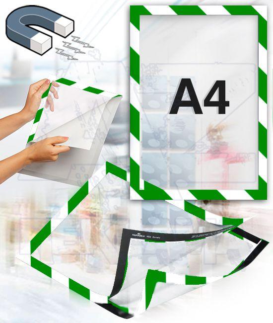 Samolepící magnetický rám DURAFRAME A4 zeleno bílý