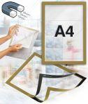 Samolepící magnetický rám A4 - zlatý