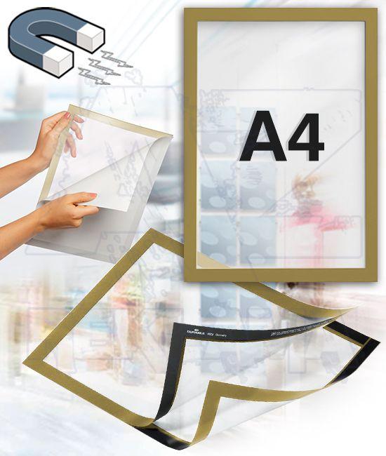 Samolepící magnetický rám DURAFRAME A4 - zlatý
