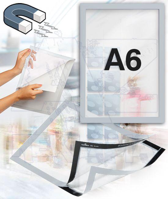Samolepící magnetický rám DURAFRAME A6 - stříbrný