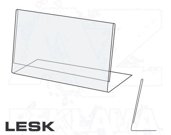 PVC Stojánek tvar L - šikmý 20x35 na šířku Lesklý A-Z Reklama CZ