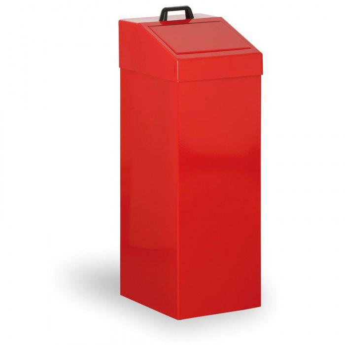 Kovový odpadkový koš na tříděný odpad, 100 l, červený