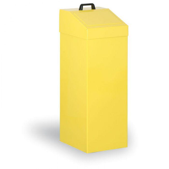 Kovový odpadkový koš na tříděný odpad, 100 l, žlutý