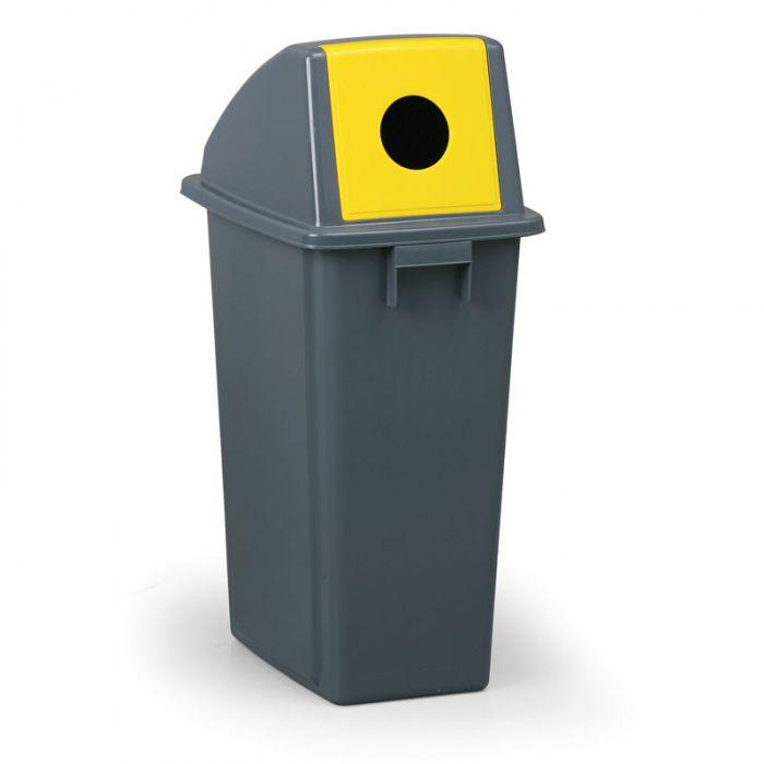Šedý odpadkový koš na láhve se žlutým víkem, 60 litrů