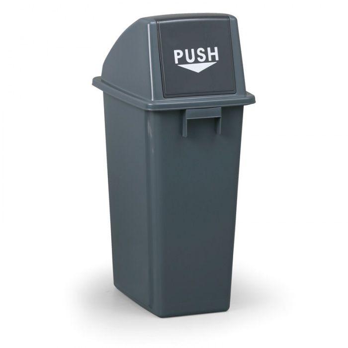 Plastový odpadkový koš s víkem hranatý, Objem 60 litrů