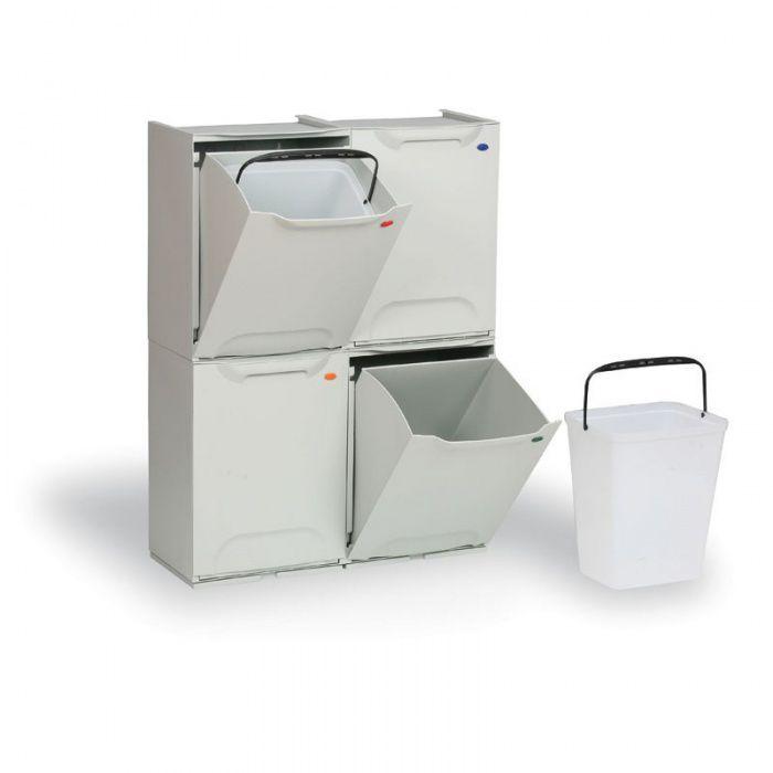 Plastové koše na tříděný odpad, Sada 4x 14 litrů - šedý