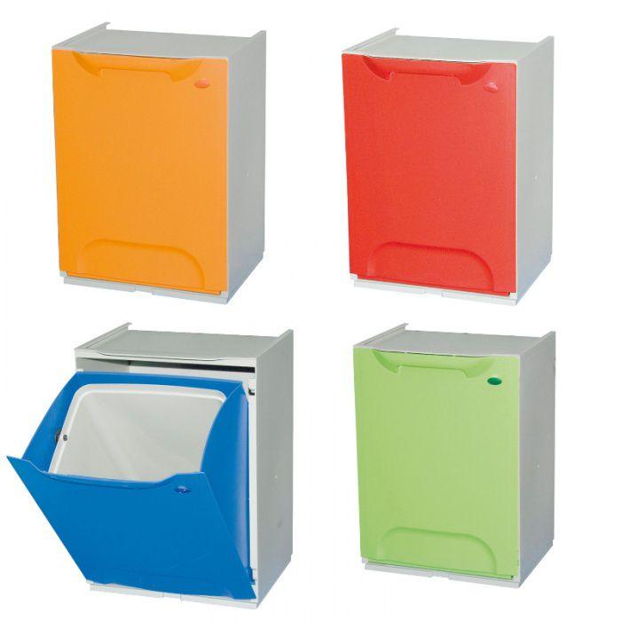 Sada 4 plastových košů na tříděný odpad 4x 14 Litrů