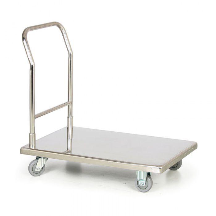 Nerezový plošinový vozík s pevným madlem - nosnost 300 kg