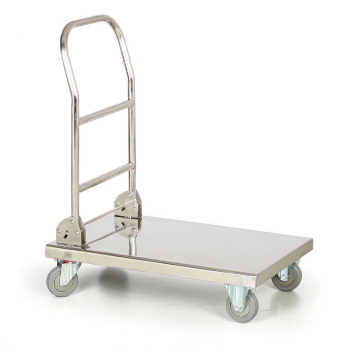 Nerezový plošinový vozík se sklopným madlem - nosnost 150 kg